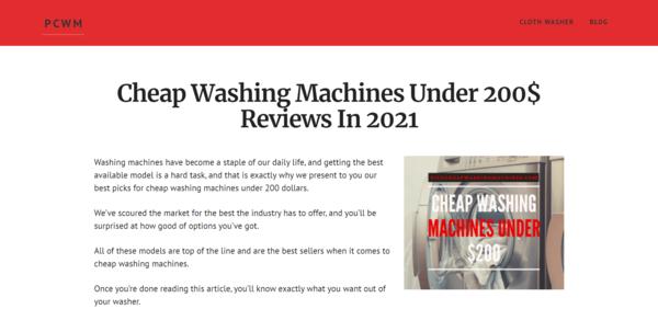 pickcheapwashingmachines.com - Amazon Affiliate Starter Site In Washing Machine Niche - Readymade