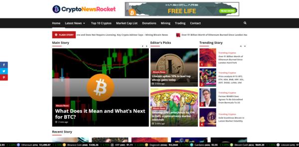 CryptoNewsRocket.com - Autopilot Crypto Bitcoin News Magazine Blog To Make Money Online