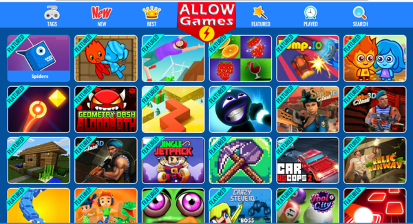 AllowGames.com - 1000+ Games in Website Earn Affiliate income Fully Autopilot Games Website Premium Old Domain Name Earn revenue every time a visitor playing games