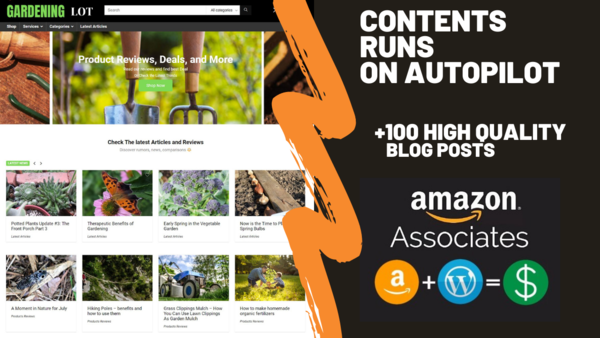 gardeninglot.com - Gardeninglot.com Can Generate Up To 5000 USD Per Month | Gardening Amazon Affiliate Website |100 High-Quality Blog Posts | Fully Automated| Domain Valued $1,123