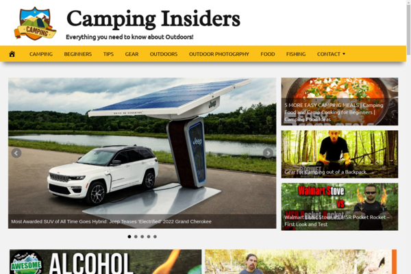 CampingInsiders.com - Fully Automated Camping/Outdoors Website. Get 5 Websites worth over $900