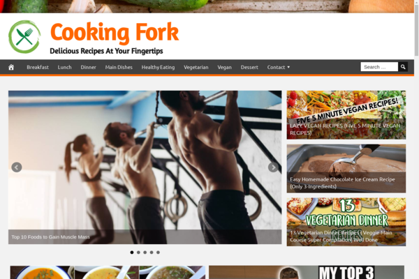 CookingFork.com - Fully Automated Cooking News Website. Get 5 Automated Websites worth over $900