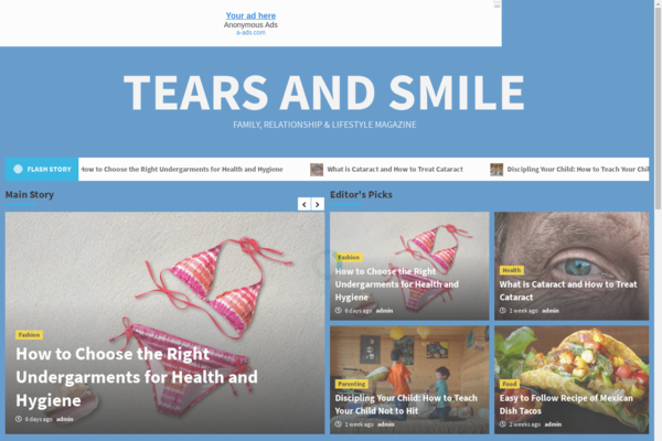 tearsandsmile.com - Lifestyle Magazine Ready to be Monetized With Adsense and Amazon Ads