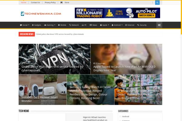 TechNewsMania.com - 100% Automated Tech News Site - 2 Years Free Host BIN + Great Bonuses