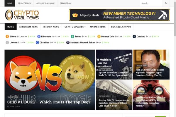 cryptoviralnews.com - Your Own AutomatedWP Affiliate Crypto News Site- 100% Dynamic