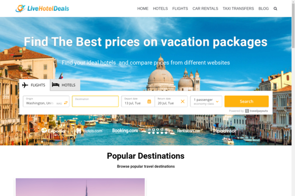 livehoteldeals.com - Automated Travel Affiliate Site Great Passive Income Opportunity, No reserve
