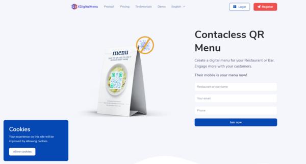 xdigitalmenu.com - Start a Contactless restaurant menu maker - SaaS - business in less than 10 min.