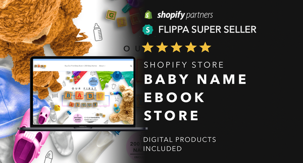 TheBabyNameBooks.com - Password: 1234 | Baby and Parental Niche Digital Product Shopify Store For Sale