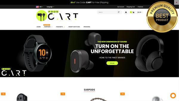 podscart.com - E-commerce Shopify Dropship Store | Headphones |Automated| 2000$/MONTH POTENTIAL