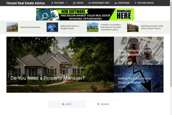 HonestRealEstateAdvice.com - Hot Niche! - Real Estate Investment Blog - Amazon Ads! - BIN Bonuses!