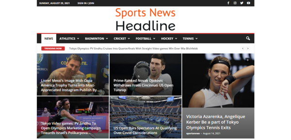sportsnewsheadline.com - Fully Automatic Sports Niche News Website with 10K Email List for Marketing