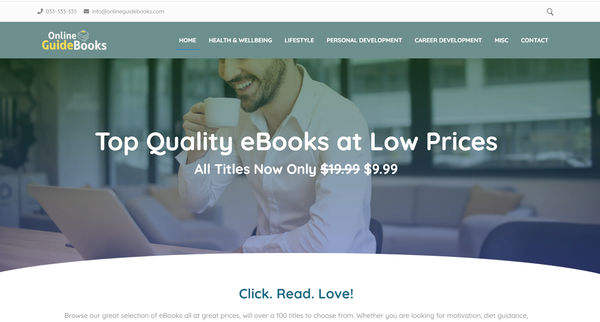 OnlineGuidebooks.com - Fully Stocked eBook Store, Passive Income Potential, Premium Domain. Loaded With Over 100 eBooks on Hot Selling Topics. No order handling! Newbie friendly.