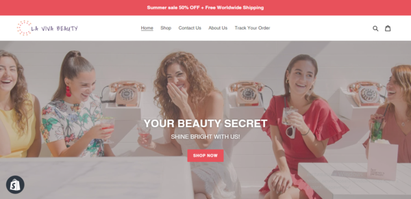 lavivabeauty.com - A ready-made website on Shopify is for sale + an active instagram account