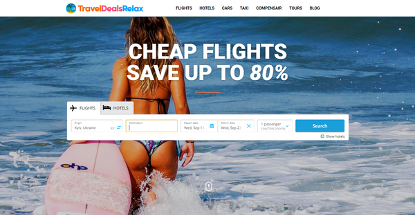 TravelDealsRelax.com - Automated Travel Site For Passive Income, Earn Up To $10k/mo on Flights, Hotels