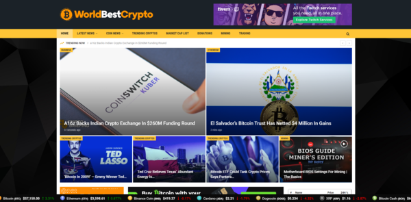 WorldBestCrypto.com - 100% Autopilot Crypto Bitcoin News Magazine Blog To Make Money Online on Crypto Ads - Premium Domain Name Valued $1300 - Newbie Friendly WordPress Site