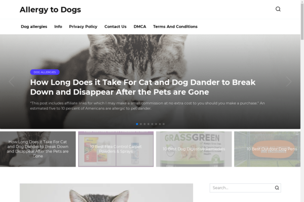allergytodogs.net - Site about health, dogs. Added to Adsense. Organic traffic Google USA