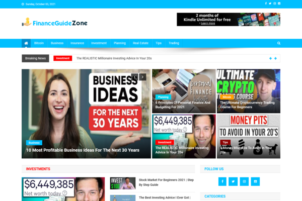 FinanceGuideZone.com - 100% Automated Finance Site - Great Profitable Niche - Newbies Friendly - Earn From Ads Network - Low Buy It Now Price