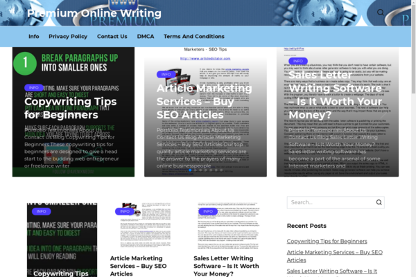 premium-online-writing.com - Canadian blog about SEO and marketing. Made in 2010 on WordPress