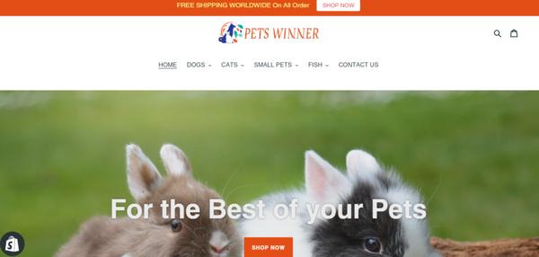 PetsWinner.com - PET Dropship Store-BIg Niche-Pro Design-Newbie Friendly-$1.5KBIN Bonus