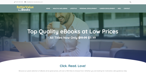 BetterValueBooks.com - Fully Stocked eBook Store, Great Passive Income Potential, Premium Domain