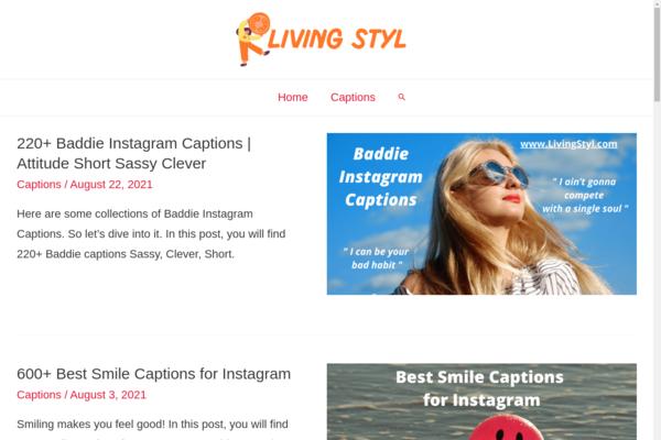 LivingStyl.com - Brandable Domain Website on Social Media Captions