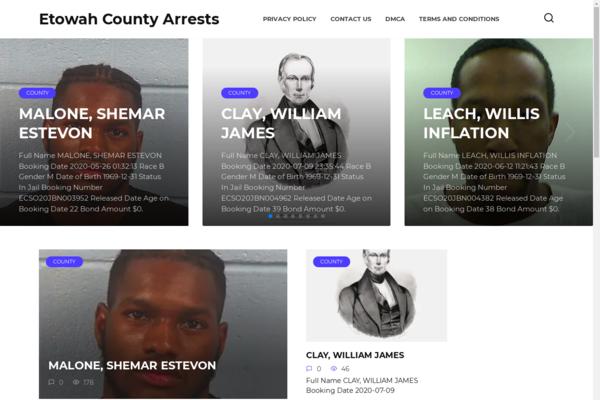 etowaharrests.com - List of arrests. Entertainment. Website in Adsense, made on WordPress