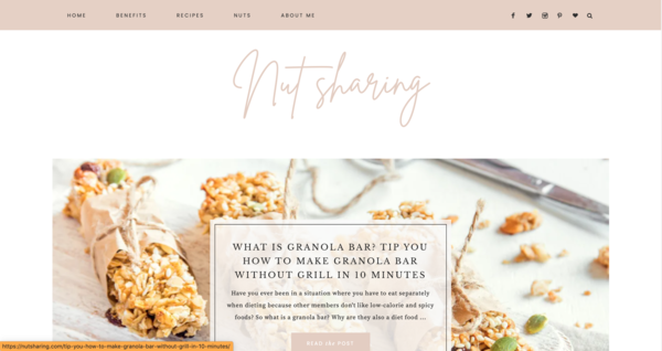 nutsharing - Sharing about nuts is a topic of nutrition and healthy lifestyle that many people are interested in, a potential niche and easy to run.