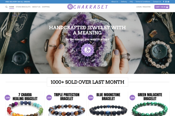 ChakraSet.com - Premium Bracelet Dropshipping Store, Earn Up To $10k/Month  Profitable  Trending