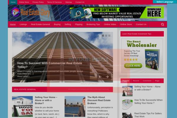 Real Estate Glory - REAL ESTATE Blog-Huge & Lucrative Niche-Pro Design-$1.5KBINBonus-NEWBIE Friendly