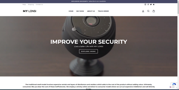 mylensi.com - Mini Security Camera Business   Branded Shopify One Product Store