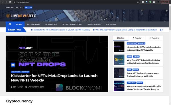 livenewsbtc.com - LiveNewsBTC.com is a fully automated Crypto News & Marketcap website.