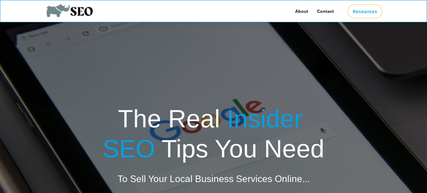 White Rhino SEO - A 3-year old SEO site that has made $2500+ from digital products and consulting contracts.