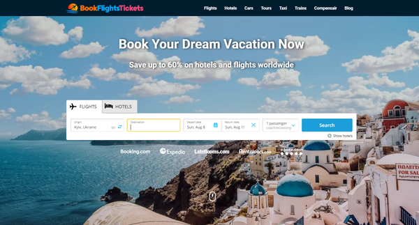 BookFlightsTickets.com - Automated Travel Site For Passive Income, Earn Up To $10k/mo on Flights, Hotels