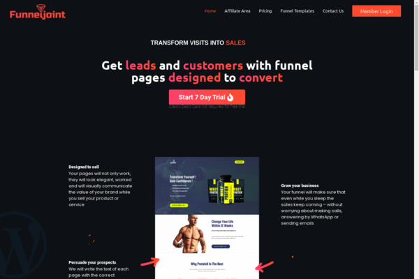 FunnelJoint.com - Start your own Business - Sales Funnel Page SaaS Business website.