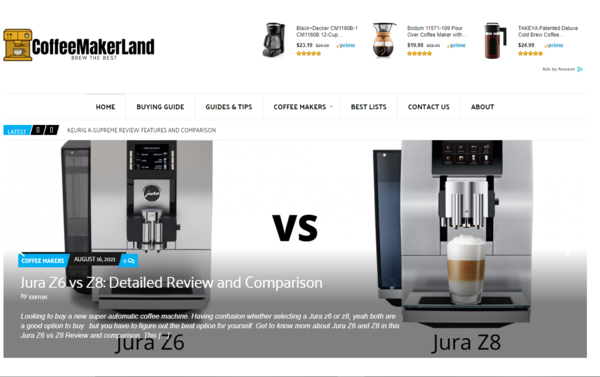 coffeemakerland.com - Money Making Starter Amazon Affiliate Website with potential of generating $1000/month