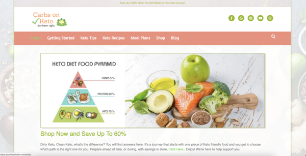 CarbsOnKeto.com - Fast Loading, 100% Automated Keto/Diet eStore/Blog, Newbie Friendly. BIN Bonuses