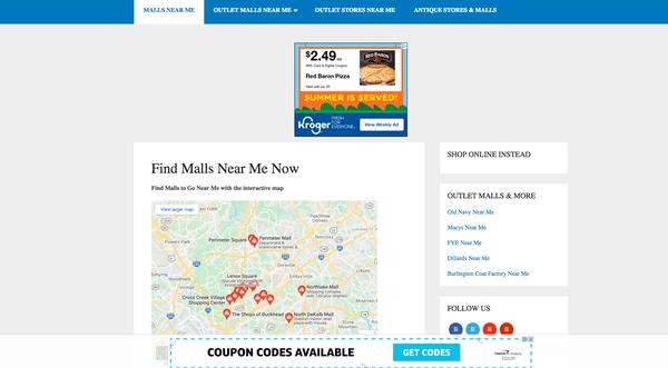mallsnear.me - MallsNear.me   Ezoic Revenue $300 and growing!!   Keywords 3K   Backlinks 6K