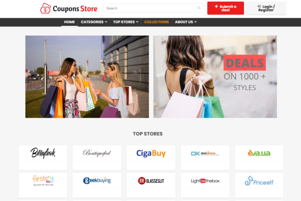 coupons-store.com - Multi-vendor Coupons & Deals Affiliate website, High Earning Potential & Easy way to earn money