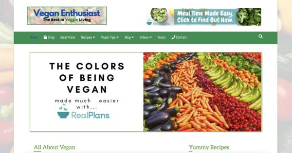 VeganEnthusiast.com - Fast Site. 100% Automated, Vegan eStore/Blog, Amazon & Aff Incomes. BIN Bonus.