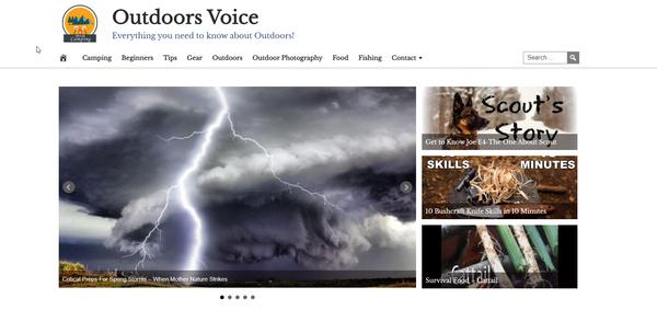 OutdoorsVoice.com - Outdoors Website, Premium Design, Fully Automated, Amazon, CB & Ad Income + BIN Hosting Bonus