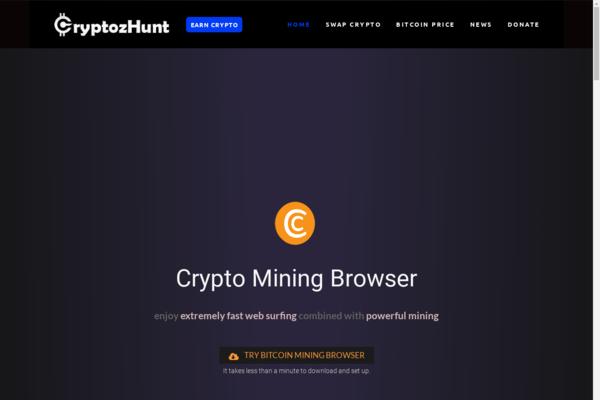 CryptozHunt.com - Crypto Mining Affiliate website - Changelly Affilaite / Crypto Donation.
