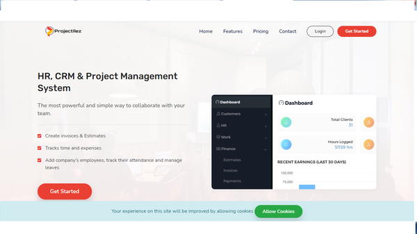 Projectilez - Run Your Own Complete Business HR, CRM/HelpDesk (SAAS)+ PAYROLL System Automated Automated Billing. Receive payments via PayPal, Stripe, and Razorpay gateways