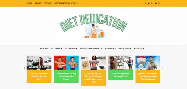 DietDedication.com - Newbie Friendly Dieting Niche Site Ready To Start Earning... Just Send Traffic!