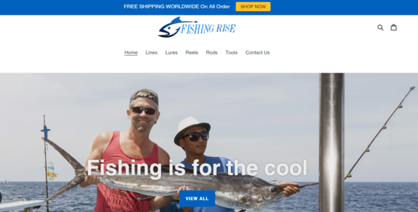 FishingRise.com - Fishing Dropship Store-BIg Niche-Pro Design-Newbie Friendly-$1.5KBIN Bonus