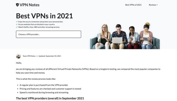 VPNnotes.com - Beginner friendly VPN affiliate site for passive income.
