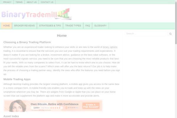 binarytrademill.com - Binary Option Broker Review & Affiliate Website
