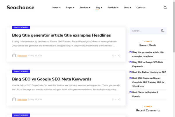 seochoose.com - Wordpress SEO niche with 500 Blog posts, Gets 100% organic Traffic