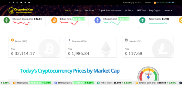 cryptozkey.com - Crypto is Booming - 100% Automated Cryptocurrency Live Price Index, News & Tools