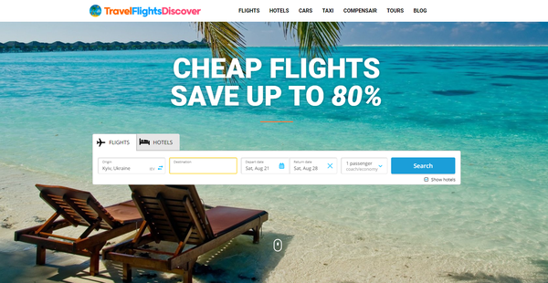 TravelFlightsDiscover.com - Automated Travel Site For Passive Income, Earn Up To $10k/mo on Flights, Hotels