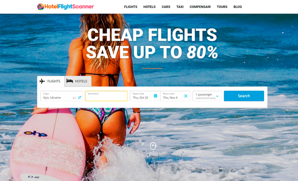 HotelFlightScanner.com - Automated Travel Affiliate Site To Make Money Online From Affiliate Commissions on Flights, Hotels, Tours, Cars + AFFILIATE ACCOUNT INCLUDED